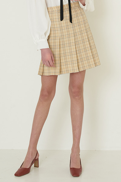 [신예은 착용]check skirts beige